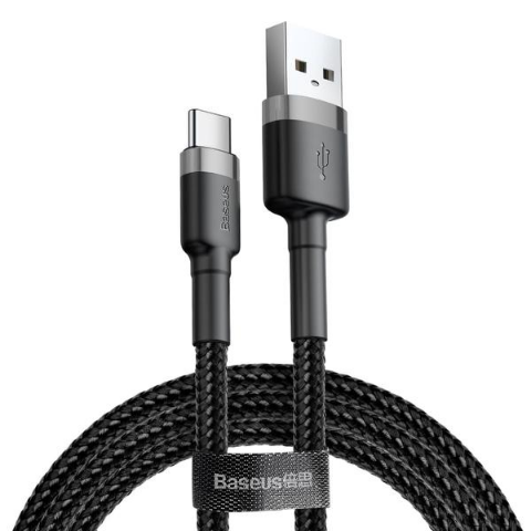 CAFULE CABLE TYPE-C 3A 1M GREY/BLACK