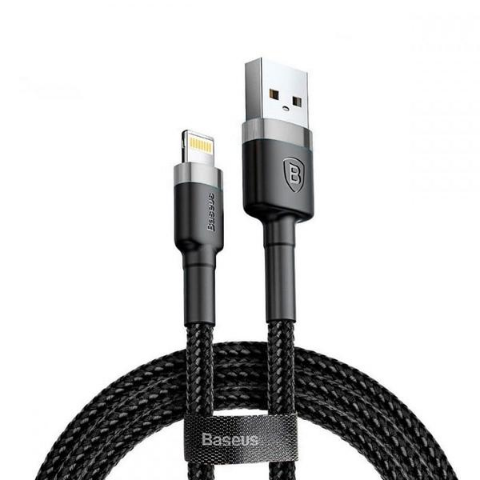 CAFULE CABLE USB/LIGHT 2.4A 1M GREY/BLK
