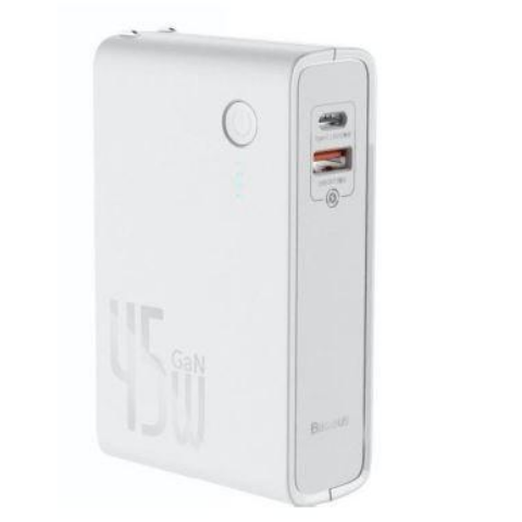POWER STATION 2IN1 QC PB&CHARGER 45W WHT